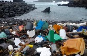 Plastic debris washes up on a beach in Azores, Portugal. Courtesy M. Eriksen