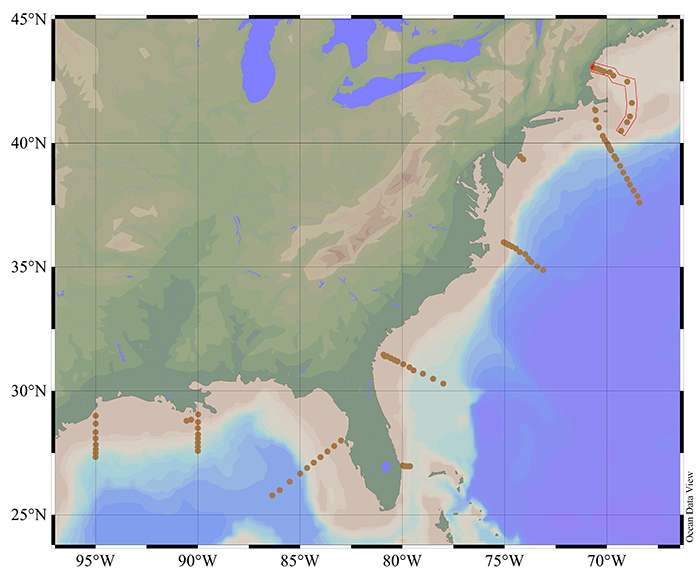 Wang and his colleagues sampled the waters off the U.S. east ...