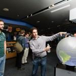 Graduate student Vince Agard demonstrating the iGlobe. Credit: John Gillooly