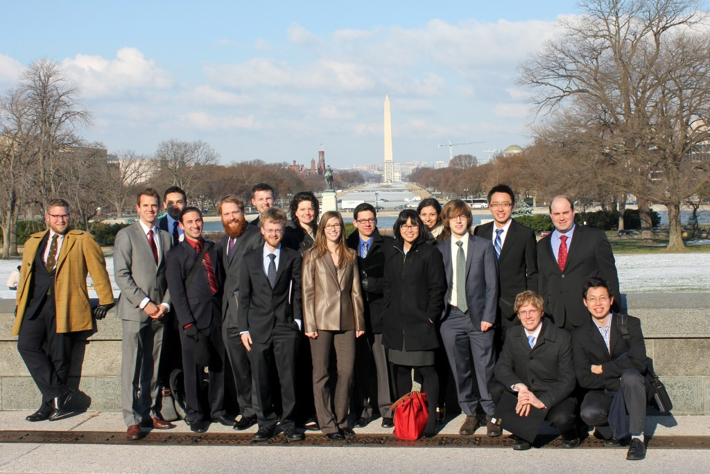 Dan Rothenberg (fourth from left) with students in MIT's Science Policy Initiative on the national mall.
