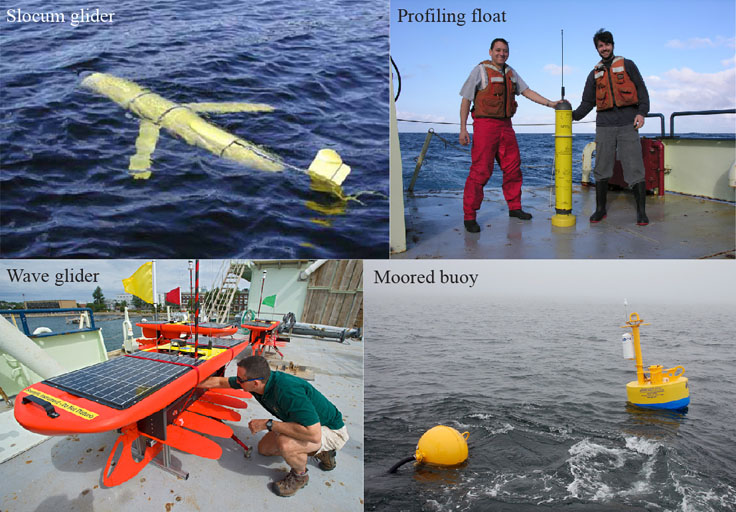 The various robotic platforms researchers use to study whale behavior and ecology. (Courtesy of Mark Baumgartner/WHOI/Robots4Whales)