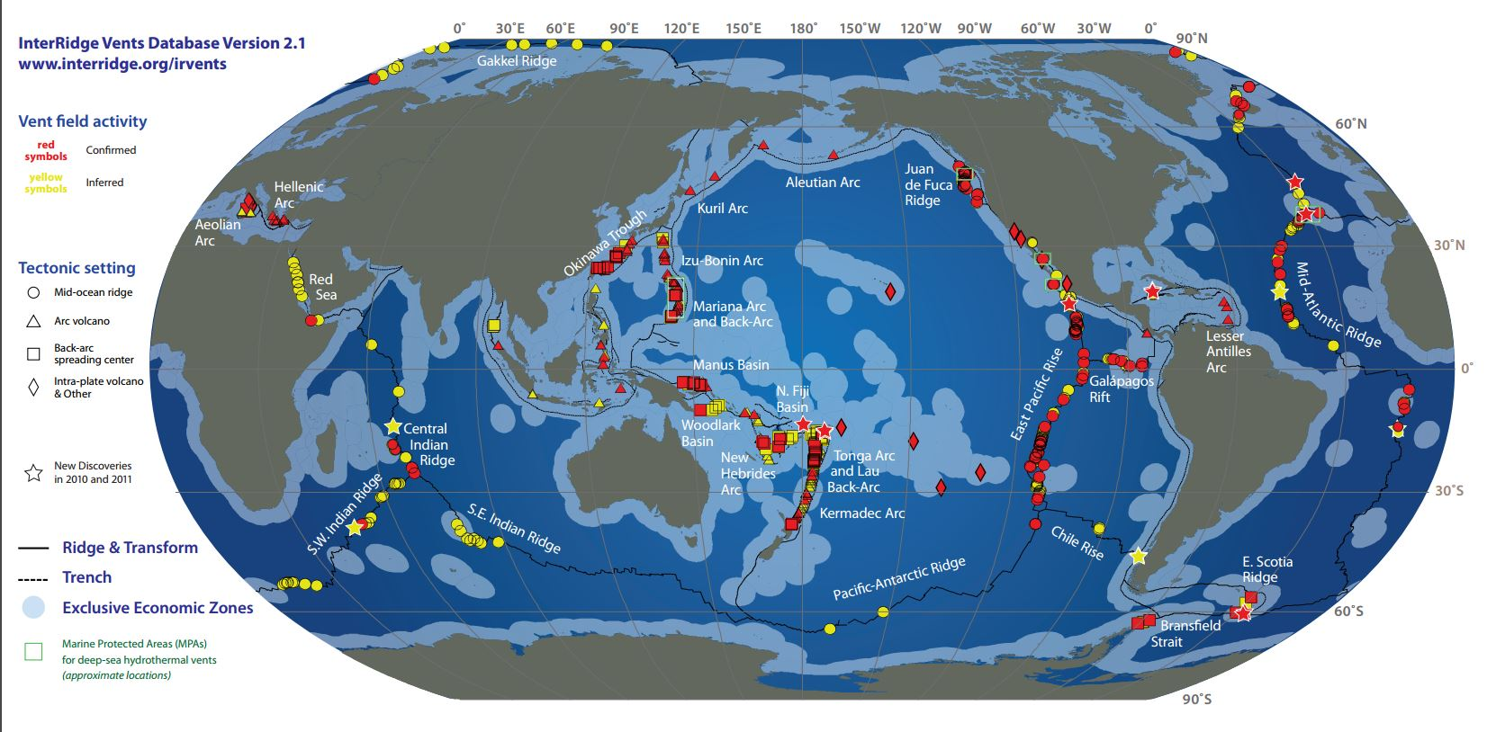 Distributions of hydrothermal vents around the globe. (Courtesy of WHOI)