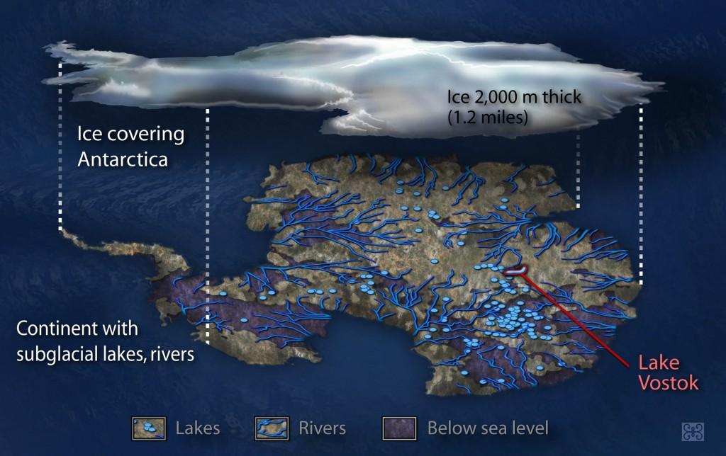A representation of what lies beneath Antarctica's ice (Credit: Zina Deretsky / NSF)