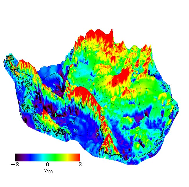 The elevation of the bed beneath the ice sheet shows rugged topography combining high mountain ranges with large areas well below sea level. (Credit: LIMA/NASA)