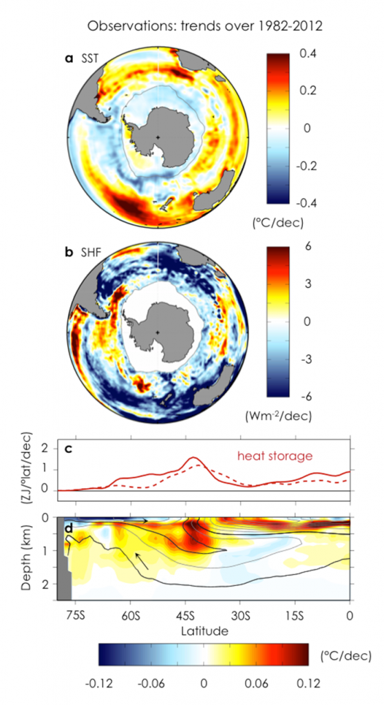Observed trends over 1982–2012. a, Annual-mean sea surface temperature trend. b, Net surface heat flux trend (positive into ocean). c, Zonally and depth-integrated ocean heat content trends from two di erent subsurface temperature data sets. d, Zonal-mean ocean potential temperature trend with contours of climatological ocean salinity. Arrows indicate the orientation of the residual-mean MOC following along contours (black lines). Grey line in a and b shows maximum winter sea-ice extent. (Image courtesy of the authors)
