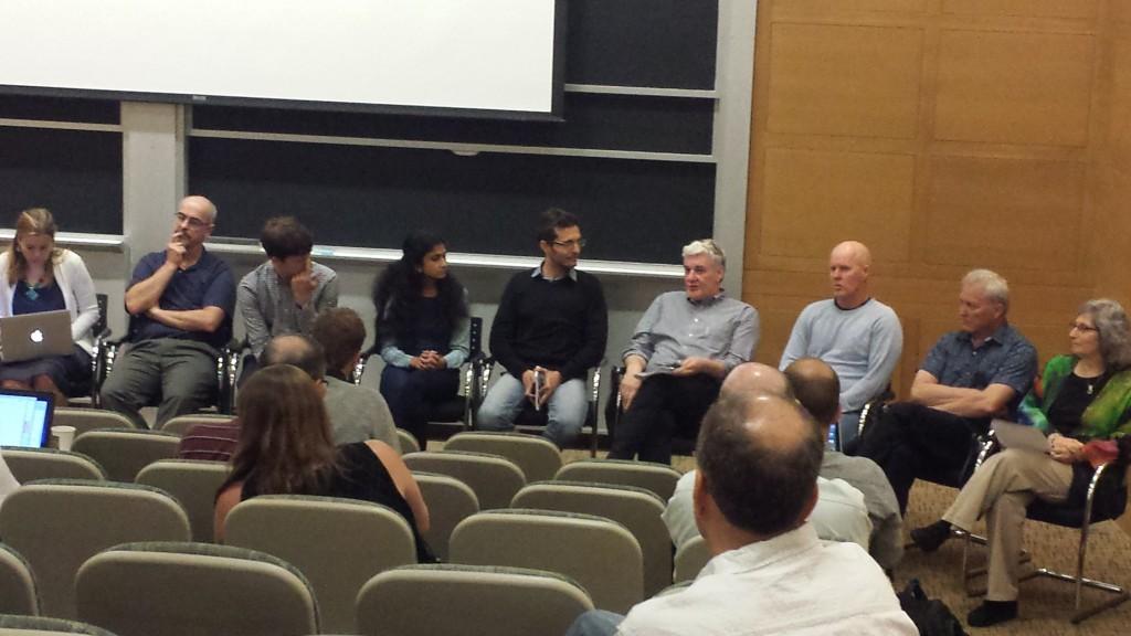 A panel discussion. From left: Irina Marinov, Darryn Waugh, Will Sevior, Aditi Sheshadri, Gabriel Chiodo, John Marshall, Matt England, Doug Kinnison, Susan Solomon. (Photo: Lauren Hinkel)