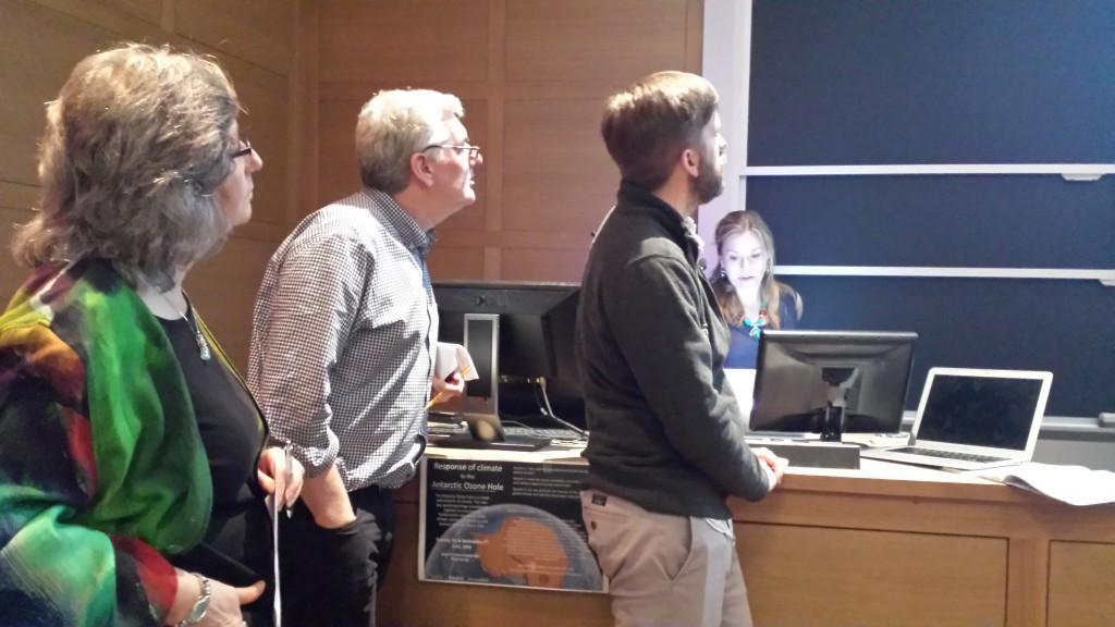 Susan Solomon, John Marshall, Ryan Abernathey look on as Irina Marinov speaks. (Photo: Lauren Hinkel)