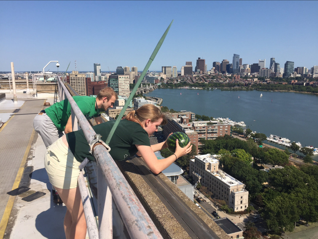 Measuring the height of the Green Building using classical physics.
