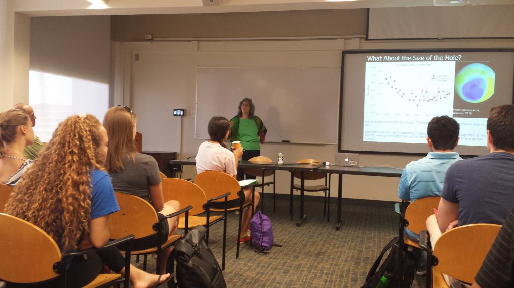 Atmospheric chemistry prof. Susan Solomon addresses the DEAPS cohort