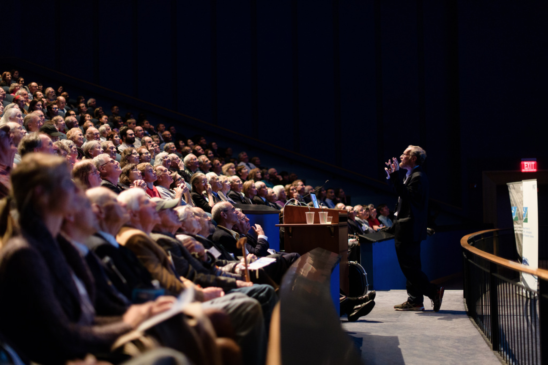 "A capacity crowd at the Omni Theater of the New England Aquarium enjoying the 2016 John Carlson Lecture ""Big Ice: Antarctica, Greenland and Boston"" given by Prof. Richard Alley. (Photo: John Gillooly)"