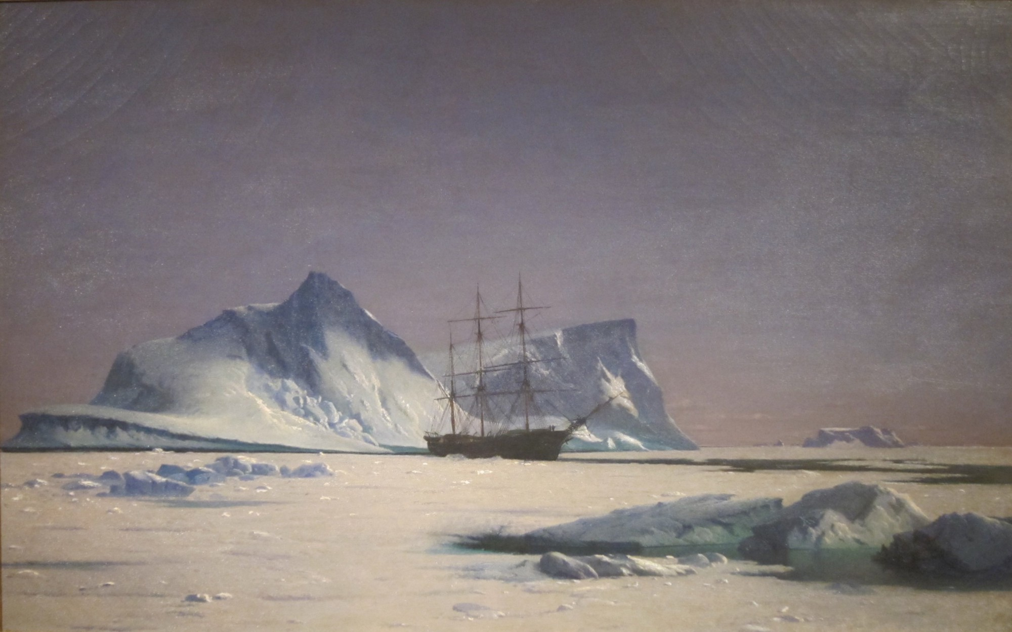 """""""Scene in the Arctic"""" by William Bradford (1823—1892). Bradford was an American artist and explorer from Fairhaven, Massachusetts and one the country's most preeminent painters of Arctic seascapes and ships. (Image: William Bradford, circa 1880, De Young Museum, The Fine Arts Museum of San Francisco, CC0 1.0 Universal Public Domain Dedication.)"""