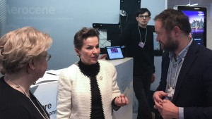Aerocene, 2016 at the World Economic Forum Annual Meeting, Davos, Switzerland. Together with Lodovica Illari, MIT EAPS, and Nick Shapiro, PublicLab. The project is developed by Aerocene Foundation, www.aerocene.org. From left to right: Lodovica Illari, Department of Earth, Atmospheric and Planetary Sciences at the Massachusetts Institute of Technology (MIT); Executive Secretary of the UN Framework Convention on Climate Change (UNFCCC), Christiana Figureres; Tomás Saraceno. (Credit: © Photography by Studio Tomás Saraceno, 2017)