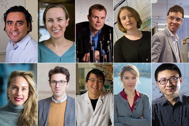 Top row, left to right: Yuriy Roman, Katharina Ribbeck, Bradley Olsen, Noelle Selin, and John Hart. Bottom row, left to right: Polina Anikeeva, Nuno Loureiro, Timothy Lu, Jessika Trancik, and Xuanhe Zhao.