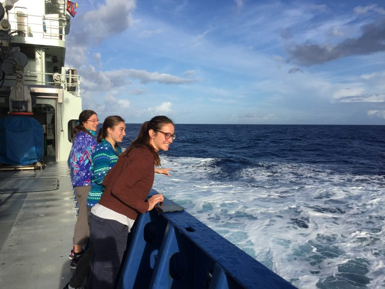 Happy graduate students on deck as we cross over the axial valley of the Mid-Atlantic Ridge. (Photo by J.-A. Olive.)