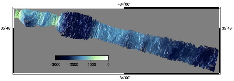 A preliminary bathymetry map. The dark band near the upper left is the axial valley of the Mid-Atlantic Ridge.