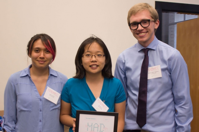 "The winning team, named A Salt Solution, won $10,000 for a prototype of a simple, low-cost hydrogel that can be incorporated into water desalination plants or placed directly into bodies of water to collect uranium. The team members are: (left to right) Jasmine Harris, Cynthia Lo, and William ""Robin"" Lindemann. (Photo: Tara Fadenrecht/DMSE)"