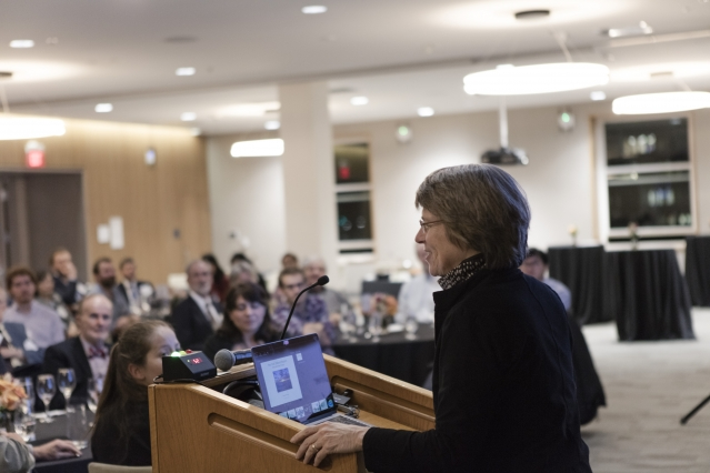 "Institute Professor Sallie ""Penny"" Chisholm presents her research on Prochlorococcus to the CEE community — including alumni — at the CEE New Research Reception. (Photo: Alan Silfen)"