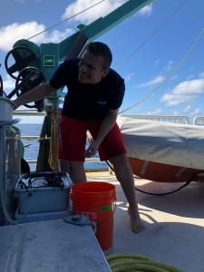 EAPS assistant professor Andrew Babbin aboard the Alucia. (Photo: courtesy of Andrew Babbin)