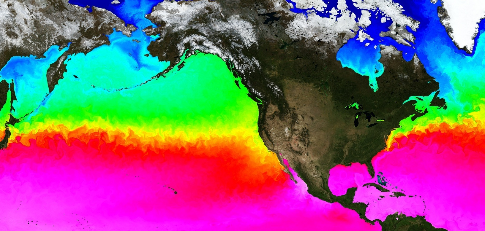 1-km resolution global ocean MITgcm. Colors: sea surface temperature variations. Swirls and filaments: small-scale  currents, or eddies. Credit: Chris Hill