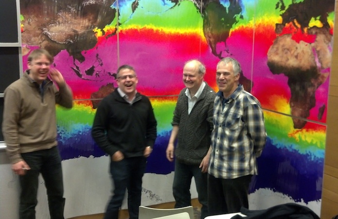 A bunch of happy ECCO modelers. From left: Martin Losch, Baylor Fox-Kemper, Chris Hill, and Dimitris Menemenlis